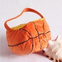 Free shipping Retail 1PCS Orange plush basketball storage bucket debris basket bag small storage bag gift e5