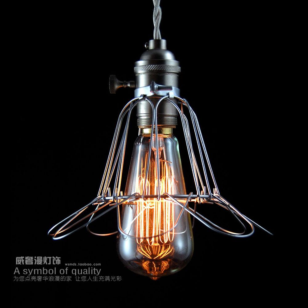 wire cage pendant light with minimalist copper barn electric