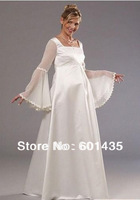 Freeshipping! WR8920 Long Sleeves High Neck Empire Waist Plus Size Maternity Wedding Dresses for Pregnant Woman