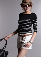 2012 women's o-neck sweater black and white stripe cashmere sweater women sweater mink sweater basic shirt