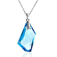 Colnmnaris birthday gift austria crystal necklace 925 pure silver necklace female pendant