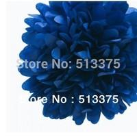 "Sep sale Free shipping 20pcs/lot Dark Blue Tissue Paper 10"" Pom -Poms Party Evening Paper Flower Ball Wedding Decoration"