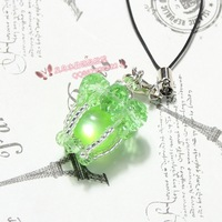 Crystal mobile phone chain small accessories handmade beaded knitted green light