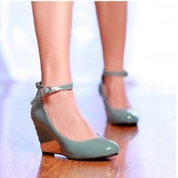 freeshipping 2013 fashion wedges low female high-heeled shoes shallow mouth buckle solid color work shoes round toe single