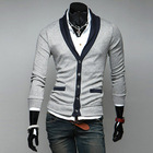 Free shipping autumn long-sleeve sweater high-grade V collar Men's Cardigan Knitwear Double Breasted Slim Casual Sweaters(China (Mainland))