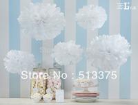 "Nov sale Free shipping 20pcs/lot White Tissue Paper 10"" Pom -Poms Party Evening Paper Flower Ball Wedding Decoration"