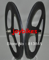 Full Carbon, best 3 spoke road/track bicycle/bike FRONT and REAR wheel, free shipping
