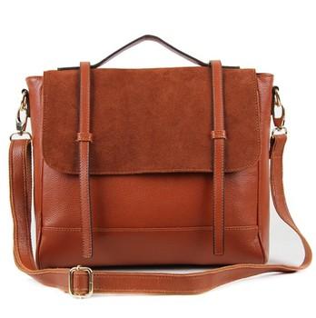 Women's vintage genuine leather handbag messenger bag preppy style nubuck cowhide large tote handbag free shipping