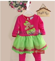 2013 Baby Girl Christmas Clothing Set Kids Lace Pettiskirt Dresses And Red Pants Designer Flower Infant Clothes Suit