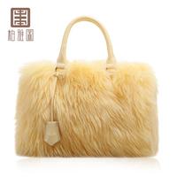 Bags fur women's handbag luxury berber fleece women's handbag genuine leather handbag