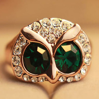 Summer beauty accessories green owl bling ring sweet finger ring