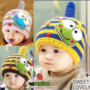 Multicolour stripe baby hat cartoon frog baby cap boy warm winter hat crochet  beanie for children