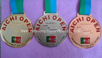 Award medal with different ribbon, AICHI OPEN medal, gold, nickel, copper