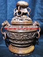 Man Room treasure vase weighing Hainan pear wood incense smoke dragons lotus flowers ornaments