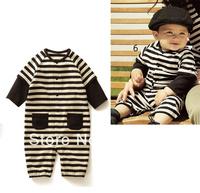 2013New Male female black streaks long sleeve jumpsuits ,kids  stripe  jumpsuits, four size optional, 1pcs/lot  Free shipping