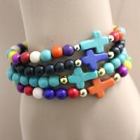 New charm Turquoise natural stone peace sign cross Bracelets Men Women bangles handmade mix order multicolor 20pcs/lot