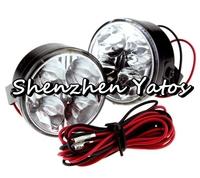 2pcs Round Daytime Running Light Car Fog Day Driving Lamp Universal 4 LED DRL White