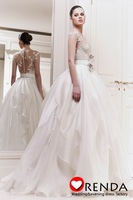 2013 Zuhair Murad Wholesale New Arrival Luxury Sexy Illusion Bodice Lace Bow Wedding Dresses Bridal Ball Gowns Custom Made