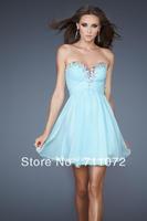 Hot Sale Cheap Popular A Line Sweetheart Off Shoulder Chiffon Beaded Pleats Light Blue Simple Short Prom Dresses 2013