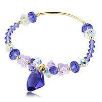 Austria crystal purple wishing stone 925 pure silver bracelet women's jewelry accessories lovers gift