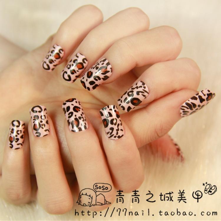 2014 nuevo de alta calidad estado de leopardo rosa uñas postizas