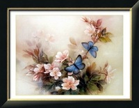 Wholesale 100% Accurate Printed DIY Blue Butterfly Flower Cross Stitch Kit Embroidery Cross Wall Decor