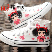 Shoes parent-child shoes medium cut cotton-made female child shoes canvas shoes