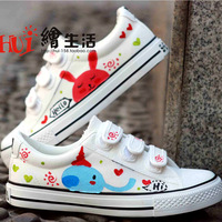 Wax small children shoes white shoes gommini loafers low hand-painted shoes parent-child shoes casual shoes colored drawing plus