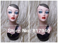 High quality Fiberglass vintage female mannequin dummy head bust for ring &wigs & hat &  jewelry display
