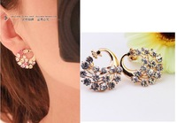 20pcs/lot Phoenix Rhinestone Peacock earrings special hypoallergenic earrings shinny Jewelry gift present Stud Earrings