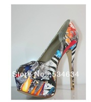 Personality skin color matching color design graffiti fish mouth shoes red bottom high heels ,Women's shoes, size11,12,13,14,15