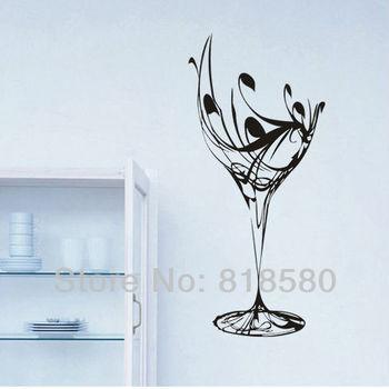 Free Shipping Home Decor Wine Glass Kitchen Vinyl Wall Art