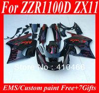 Customized Fairing kit for Kawasaki ZZR 1100 1993 2001  ZZR 1100D 93 94 95 96 97 98 01 02 03 ZX11 red white flames Fairings kit