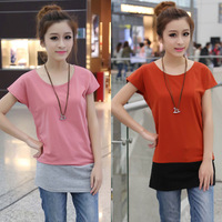 2013 summer women's 100% cotton t-shirt female loose plus size color block decoration short-sleeve basic shirt