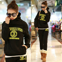 2013 autumn and winter plus size with a hood sweatshirt loose casual thickening plus velvet sportswear set female