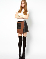 freeshipping women 2013 new winter leather high waist skirts autumn pu fashion ethnic skirt shorts with pockets for woman