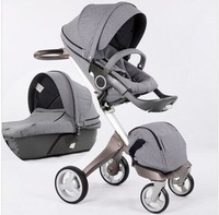 2013 Dsland baby stroller with carrycot fast delivery high quality double stroller for dolls/same stokke pram gray denim colour