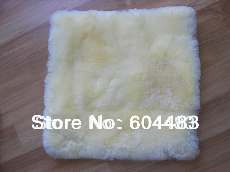 2pcs Sheepskin Cushion 45*45cm + Free Shipping Short Hair Beige(China (Mainland))