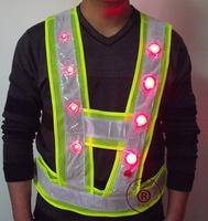 Free Shipping LED light Safety Vest Reflective Vest Mesh Clothing Reflect Safety Warning Tops Life Vests chaleco de seguridad