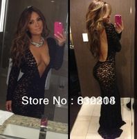 2013 Jennifer Lopez Sexy Deep V-neck Black Lace Evening Party Gowns Sheath Long Sleeves Celebrity Dresses New Fashion