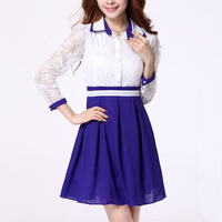 Stella free shipping 2013 spring and autumn women's elegant lace long-sleeve dress slim chiffon basic skirt