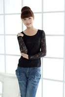 Stella free shipping Female long-sleeve top 2013 autumn slim black o-neck lace patchwork basic shirt plus size