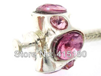 Top super quality 925 sterling silver Stopper bead w/ thread fit European Charm bracelet Pink Crystal PSB116
