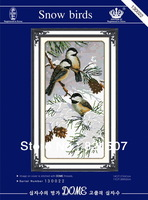 Free shipping 14CT unprinted cross stitch kit fabric snow brids cross-stitch kits for embroidery kits