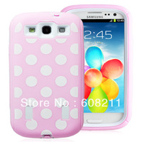 Baby Pink and White Polka Dot Hybrid Armor Case Combo for Samsung Galaxy S3 i9300 with Bulit in Screen Protector