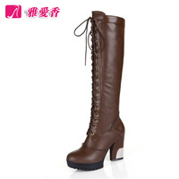 Elegant casual strap side zipper martin boots thick heel platform high-leg thermal boots motorcycle boots