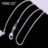 C008-22 10pcs/lot Promotion! wholesale 925 silver necklace, 925 silver fashion jewelry Snake Chain 1mm 22 inches Necklace lllb