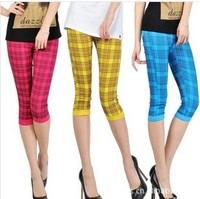 2014 slim candy color white plaid pencil pants female capris legging plus size s-xxxl  free shipping