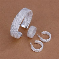 Wholesale! Free shipping! high quality 925 Sterling silver fashion jewelry, Net Mesh Ring Earrings Bangle Jewelry Set S275