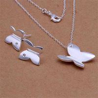 Wholesale! Free shipping! high quality 925 Sterling silver fashion jewelry, Smooth Butterfly Earrings Necklace Jewelry Set S349